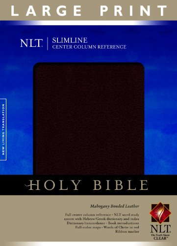 Slimline Center Column Reference Bible NLT, Large Print (Red Letter, Bonded Leather, Mahogany) (Premium Bonded Leather)