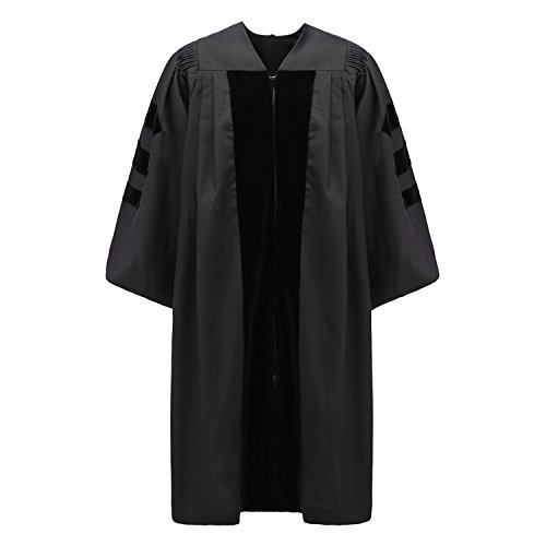 Robe Depot Unisex Deluxe Doctoral Graduation Gown,Black Fabric and Black Velvet,45 by Robe Depot