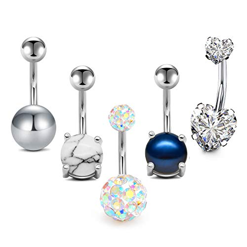 - MODRSA 5pcs Jeweled Belly Button Rings 14G Surgical Stainless Steel CZ Pack Navel Barbell for Women Girls Piercing Rings Jewelry Belly Bar 3/8