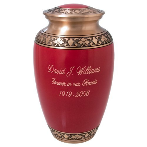 Cherry Red Brass Cremation Urn (11'' Full Size, Engraved) by Memorial Gallery (Image #2)