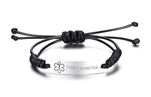 VNOX Type 1 Diabetes Medical Alert ID Handmade Braid Rope Stainless Steel Adjustable Bracelet for Child&Adult