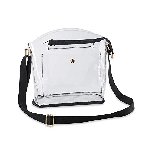 Clear Crossbody Purse Bag Concerts & Venue Gameday Stadium Approved Shoulder Handbag for Women, Transparent See Through Plastic PVC Clutch 12