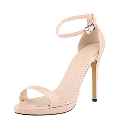 Women's Elegant Sexy Ankle Strap High Heel Dress Wedding Party Sandal nude patent pu X1LZ0a2hak