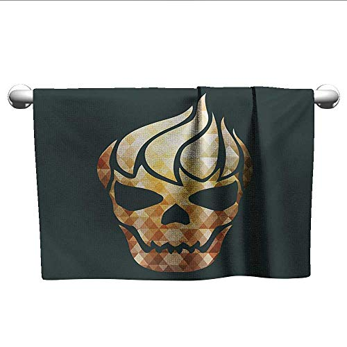 LilyDecorH Modern,Shower Towel Gothic Skull with Fractal Effects in Fire Evil Halloween Concept Gym Towels for Women Yellow Pale Caramel Dark Grey W 24