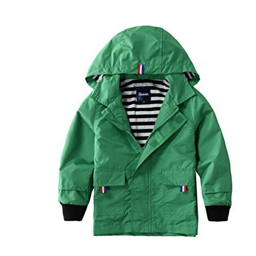 Hiheart Boys Waterproof Hooded Jackets Cotton Lined Rain Jackets Green 4T