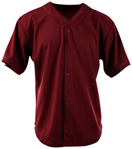 ChoiceApparel Mens Plain Solid Color Baseball Jersey (XL, 107-Burgundy)