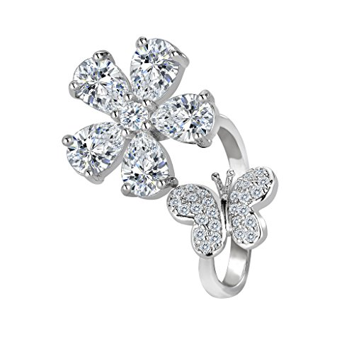 BriLove Women's Wedding Bridal Cubic Zirconia Hibiscus Flower Lovely Butterfly Open Cocktail Ring Clear Silver-Tone Size (Butterfly Floral Ring)