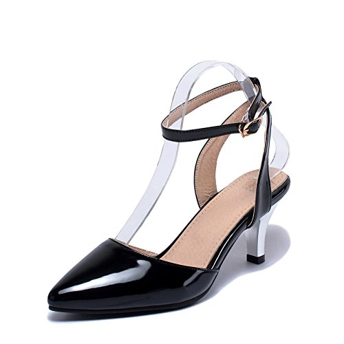 Buckle Patent Solid Kitten Sandals Black Closed Toe Leather Women's AllhqFashion Heels q5wt66