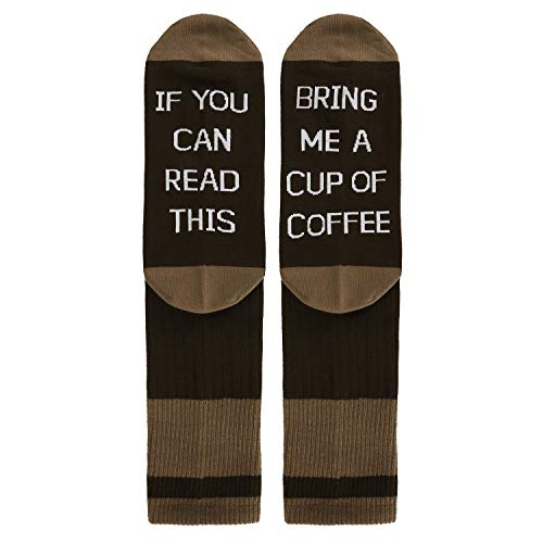 Funny Cotton - Novelty Funny Saying Crew Cotton Socks, If You Can Read This Bring Me Coffee Socks in Brown for Men Women