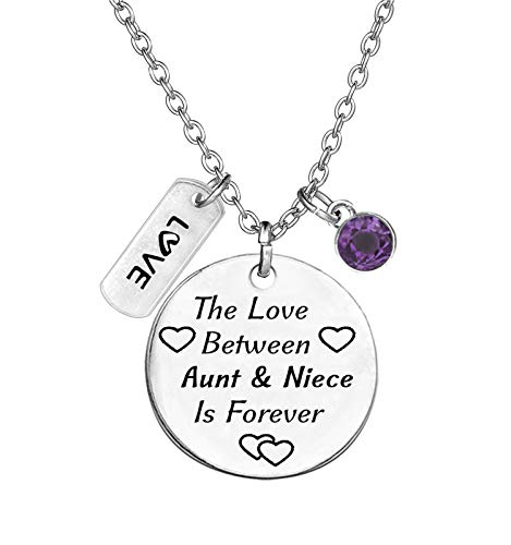 TISDA Birthstone Crystals Necklace,The Love between Aunt and Niece is Forever Necklace Family Jewelry Christmas Gift (February)