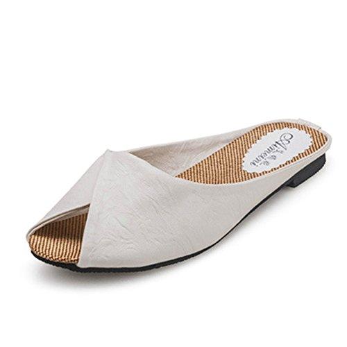 Gaorui Vrouwen Zomer Mode Causale Schoenen Slippers Kunstleer Sandalen Strand Peeptoe Mules Wit