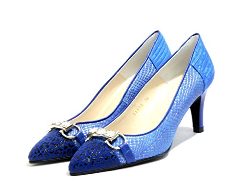 Royal Leather Jewel G 126 EYE Blue Women's Embellishment and Shoes Print Ladies Trim Pointed Court with Snake 6W6ZOXTv