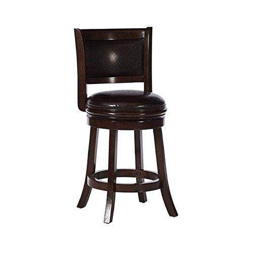 Boraam 46824 Augusta Counter Height Swivel Stool, 24-Inch, Cappuccino with Dark Brown PU