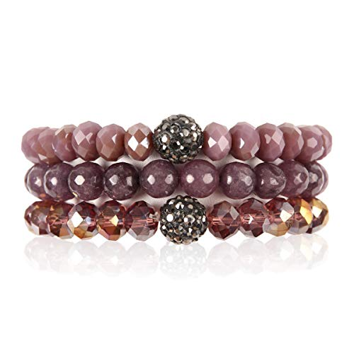 RIAH FASHION Bead Multi Layer Versatile Statement Bracelets - Stackable Beaded Strand Stretch Bangles Sparkly Crystal, Faux Druzy, Pave Fireball (Pave Ball & Natural Stone Mix - Purple) (Bead Cuff Glass)
