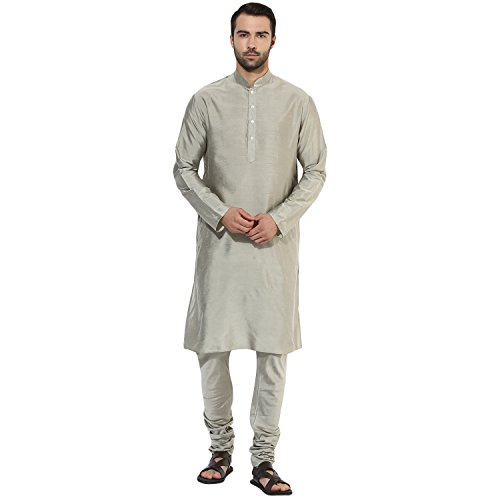 KISAH Men's Indian Plain and Solid Kurta 38 Silver for Wedding & Festive Season by KISAH