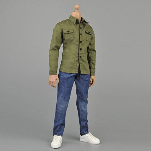MonkeyJack 1/6 Action Figure Accessories Army Green Shirt Jeans Belt Clothing for Hot Toys
