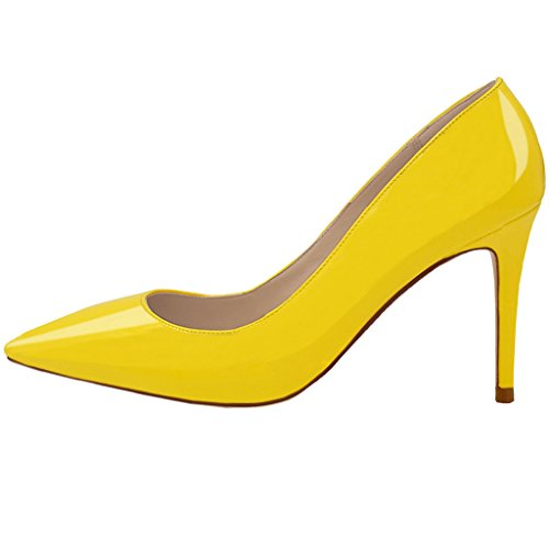 Lovirs Womens Yellow Office Basic Slip on Pumps Stiletto Mid-heel Pointy Toe Shoes for Party Dress 8 M US (Yellow Pointy Toe Pumps)