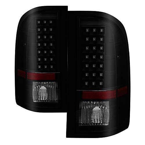 Tail Lights For 07-13 Chevy Silverado 1500 07-14 2500HD/3500HD GMC Sierra 3500HD Dually Models 07-14 [for 3047 R/Bulb] LED Smoke