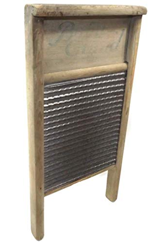- Vintage Primitive Weathered Baby Grand Wood & Tin Washboard