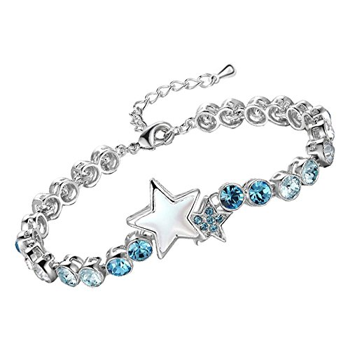 Young & Forever Women's Celestial Star Rhodium Plated Blue Crystal Brass Bracelet by Young & Forever
