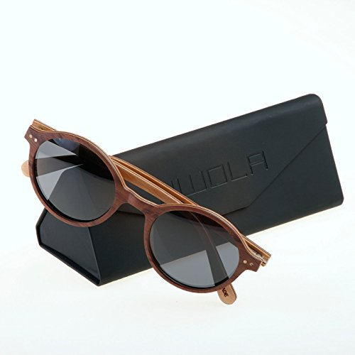 UV400 sol HELIO madera sunglasses polarisada Koso de bambú en estilo ò madera gafas WOLA redondas fqg477