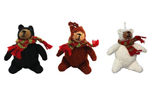 Fair Trade Alpaca Bear Ornament Set of 3 Hand Knit in Peru, Black Bear, White Bear, Brown Bear Ornament (Grizzly Bear Ornament)