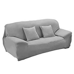 WINOMO Sofa Slipcover Elastic Stretch 3 Seater Sofa Protector Couch Cover  (Grey)
