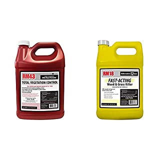 RM43 43-Percent Glyphosate Plus Weed Preventer Total Vegetation Control, 1-Gallon & RM18 Fast-Acting Weed & Grass Killer Herbicide, 1-Gallon