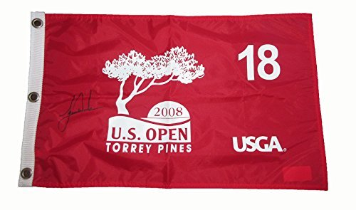 Tiger Woods Autographed 2008 US Open Golf Pin Flag W/PROOF, Picture of Tiger Signing For Us, Masters, US Open, PGA Championship, The Open Championship, Stanford Cardinal (Woods Autographed Masters Tiger)