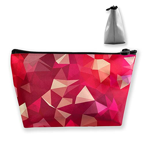 Makeup Bag Cosmetic Lines Magenta Geometry Portable Cosmetic Bag Mobile Trapezoidal Storage Bag Travel Bags with Zipper