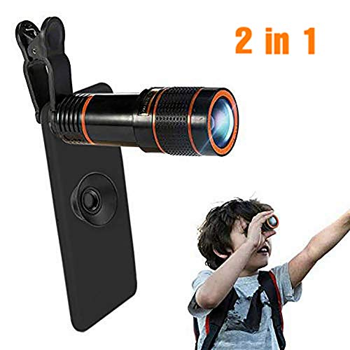 Phone Camera Lens, Qliampe 12X Zoom Telephoto Lens for Smartphone 2 in 1 HD Dual Focus Monocular for Adults Clip on Telephone Lens Kit Compatible iPhone X/8/7/6/6s Plus - Zoom Digital Color Viewfinder