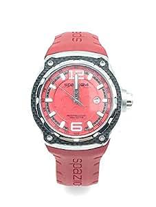 spazio24 Reloj de Mujer Correa de Silicona Rojo Marca spazio24 y Caja de Acero Esfera Rojo