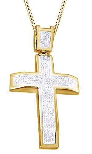 Round Cut Cubic Zirconia Cross Hip Hop Pendant in 14k Yellow Gold Over Sterling Silver (2.15 Cttw) by AFFY