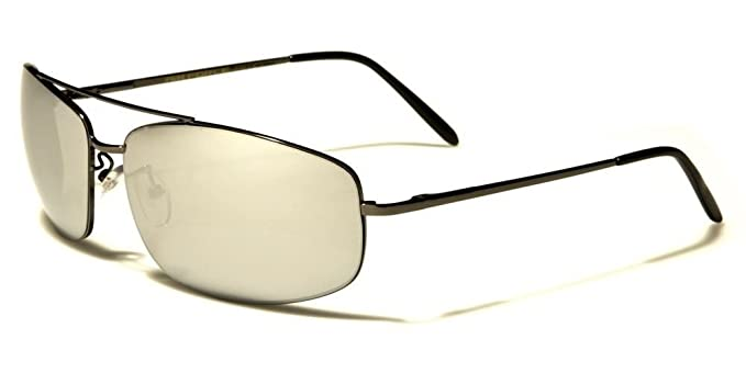 d6d09ece1 Amazon.com: Mirrored Lens Air Force Style Mens Womens Rectangle Sunglasses:  Clothing