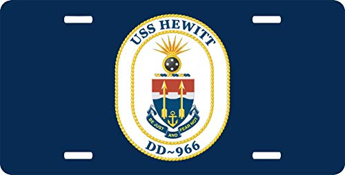 Aluminum License Plate - Metal Patriotic License Plate, Front License Plate, Car Tag Cover 6x12 Inch - Navy USS Hewitt DD-966 ()