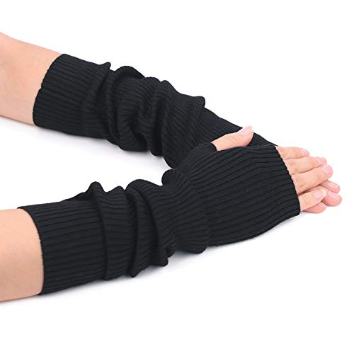Flammi Women's Knit Arm Warmers with Thumb Holes Cashmere Long Fingerless Gloves (Black) -