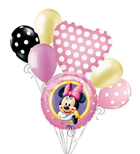 7 pc Minnie Mouse Pink Portrait Balloon Bouquet Happy Birthday Disney Baby Girl -