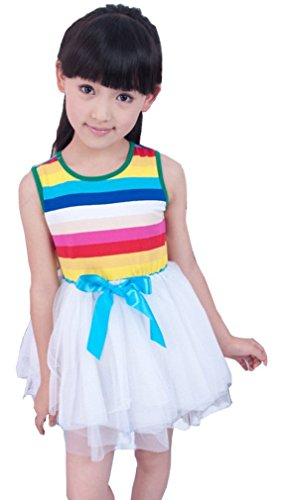 Summer Fairy Lace Wings - Kids Girls Cotton Blend Puffy Summer Sundress Rainbow Stripe Skirt