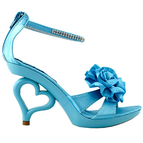 Bride Strappy Wedding Ankle Dancing SM33101 Story Blue Heels Sandals Strap Show Heart Sky qORfwn