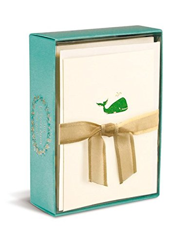 Graphique De France Elegant Embossed Green Whale Thanks a Ton! Notecards - 10 Cards and Envelopes - 3 X 5 Inches (Whale)