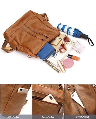 Backpack Bag Leather Shoulder Backpack Girls Dz Purse �� Satchel PU Ladies for FIGROL School Travel Casual Bag brown Women IwX8pqO