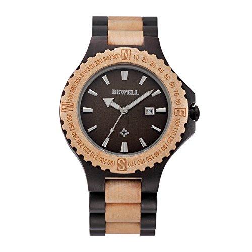 43988371e0 BEWELL 腕時計 木製 ファション メンズ ウッド 天然木 ビジネス 自然 木目 プレゼント 日本制クオーツ アナログ