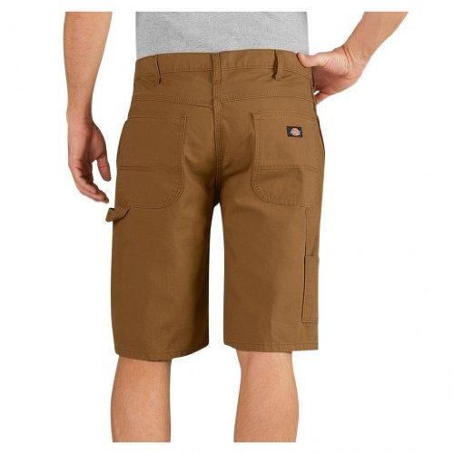 11' Relaxed Fit Carpenter Short - Dickies Men's 11'' Relaxed Fit Lightweight Duck Carpenter Shorts, Rinsed Brown Duck, 33