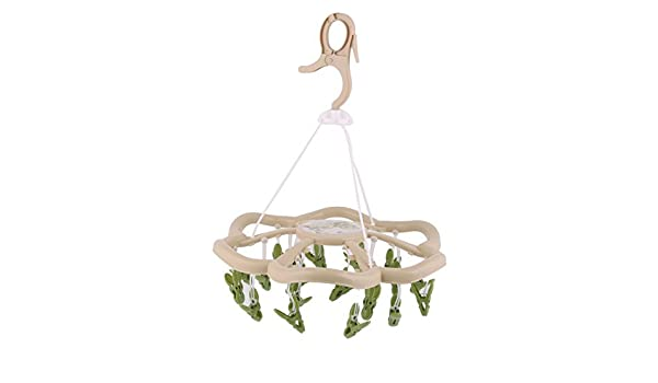 Amazon.com: eDealMax plástico Inicio en Forma de Flor giratoria y abatible de gancho 24 Clips perchero Percha: Home & Kitchen