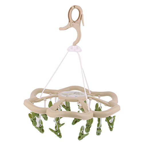 eDealMax plástico Inicio en Forma de Flor giratoria y abatible de gancho 24 Clips perchero Percha