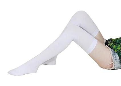 Koly Rodilla Alta Calcetines Pantyhose Medias Encaje Señoras Mujer Muslo Alto Estiramiento Algodón Legging Calcetines Chicas