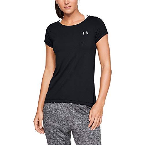 Under Armour Women's HeatGear Armour Short Sleeve Shirt, Black//Metallic Silver, Small