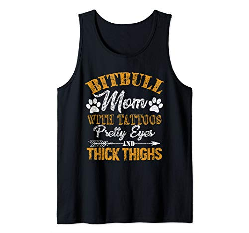 (Pitbull Mom Tattoos Dog Lover Mother's Day Gift Tank Top)