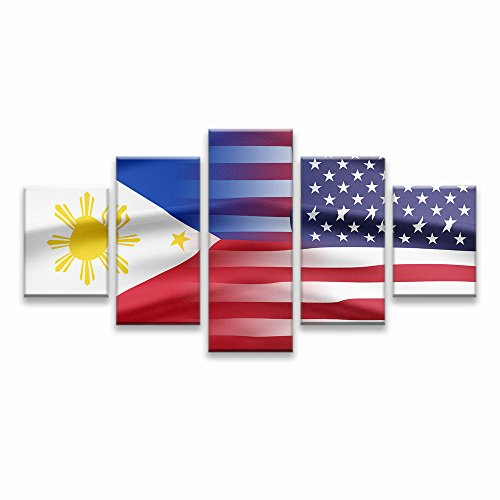 - Philippines and USA Flag Wall Art Canvas Prints Filipino Philippine National Flags Home Decor for Living Room Office Bedroom Pictures 5 Panel Posters Painting Framed Ready to Hang (70