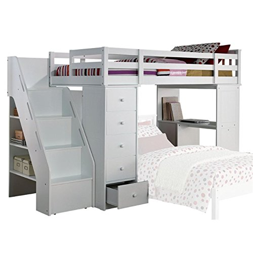 ACME Freya White Loft Bed with Bookcase Ladder - Asian Loft Collection